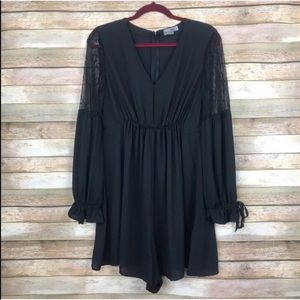ASOS Black Lace Sleeve Romper Size 10